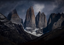 Torre Sur m Torre central m and Torre Norte m Together they give name to Torres del Paine national parc Chile
