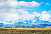 Torres del Paine shrouded in the clouds Patagonia Chile  itkjpeg