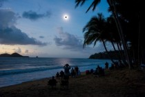 Total solar eclipse seen from Ellis Beach north of Cairns Queensland Australia today