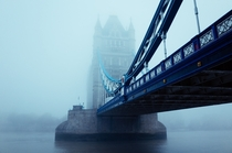 Tower Bridge on a foggy day in London  Photographed by Laura McGregor