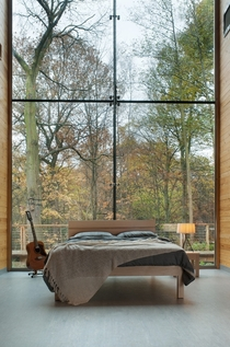 Towering Forest Windows in Simple Modern Bedroom UK