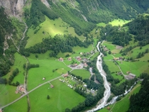 Town of Stechelberg Lauterbrunnen Valley Switzerland