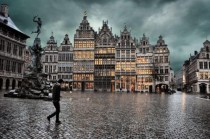 Town square on a rainy day in Antwerp Belgium
