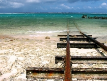 Tracks that were used to launch boats Unknown location