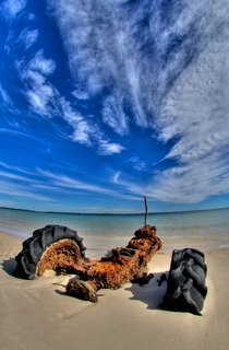 Tractor lost to the tide somewhere in Australia Photo by Ferrell McCollough