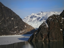 Tracy Arm Fjord near Juneau Alaska Looking North through an ice covered passage that leads to the Sawyer Glacier