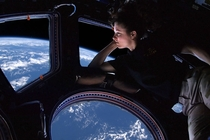 Tracy Caldwell Dyson in the Cupola of the ISS