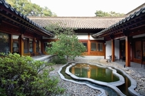 Traditional atrium of the Habib House the official US ambassadorial residence of Korea Seoul South Korea