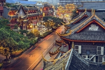 Traditional houses along Qintai Road located in Chengdu China