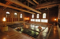 Traditional Japanese onsen hot spring bath built in