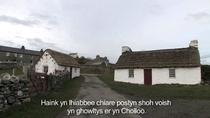 Traditional Manx cottages in Cregneash Isle of Man
