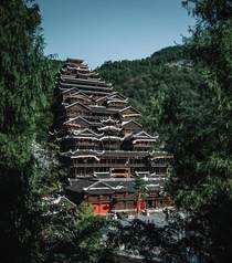 Traditional Multi-storey building built using ethnic Miao architecture style Chiyou Jiuli city China