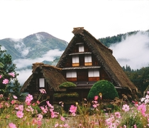 Traditional village house in Shirakawa village Japan The roof design is supposed to resemble hands folded in prayer More in comments