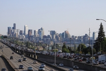 Traffic approaching downtown Seattle Washington on Interstate