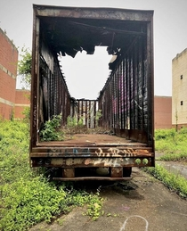 trailer burnt to hell at an abandoned industrial park once a whisky distillery in PA
