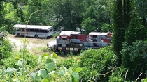Train and bus from the movie The Fugitive  Tuckaseegee River in Dillsboro NC