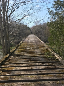 Train bridge in the middle of the woods built in the s