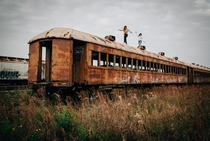 Train carriages in Galveston TX