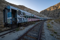 Train cars in the California desert