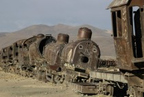 Train cemetery in Uyuni  miles south of La Paz Bolivia