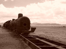 Train graveyard near Salar de Uyuni Bolivia