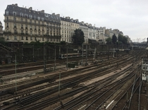 Train rails through the city at Saint-Lazaire Paris