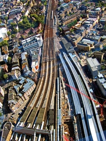 Train tracks and London Bridge Station from above London