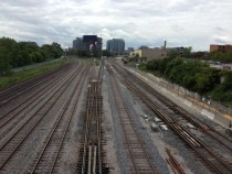 Train tracks crossing under Bathurst St Toronto ON