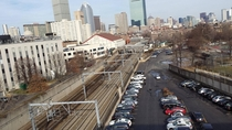 Train tracks heading into downtown Boston