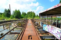 Train turntable at an abandoned railyard with a  year old history in Berlin Germany
