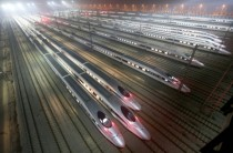 Trains wait at Guangzhou rail yard