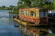 Tram house boat on the Desna River Ukraine photo Sergei Rzhevsky
