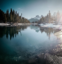 Tranquil scene on the bow river in Canmore Alberta
