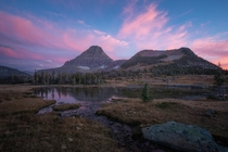 Tranquil sunset at Logan Pass Glacier National Park Montana USA