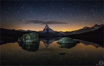 Tranquility - Nightscape of Mount Matterhorn in Switzerland just before dawn  photo by Nicholas Roemmelt