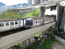 Transition between the underground and viaduct sections of the Kwun Tong MTR line Hong Kong