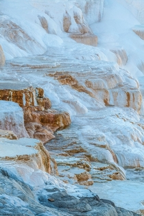 Travertine terraces at Mammoth Hotsprings WY I titled this one Liquid Snow