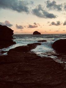 Trebarwith Strand Cornwall England just before sunset th June