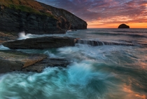 Trebarwith Strand sunset England UK Photographed by Andrew Turner