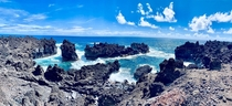 Trek through the Seaside trail of Wainapanapa state park in Maui - worth every stab of our feet by the Lava tubes