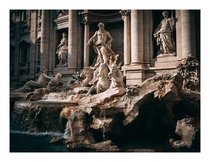 Trevi Fountain During Golden Hour Rome Italy