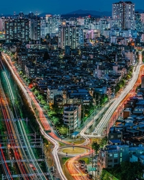 Triangular city block stuck between roads and train tracks southwest Seoul South Korea