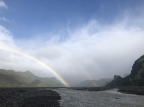 Triple rainbow after a tragic accident in the river  Iceland