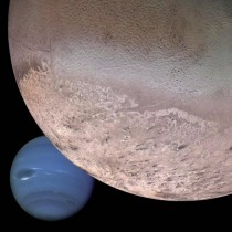 Triton and Neptune from Voyager  the black smudges on the bottom of Triton come from nitrogen geysers