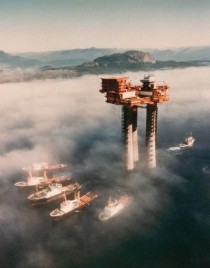Troll A natural gas platform under tow off the coast of Norway