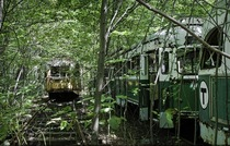 Trolley Graveyard near Boston MA Photo by Matthew Christopher