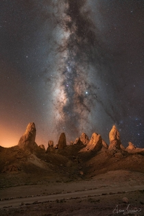 Trona Pinnacles in California at Night