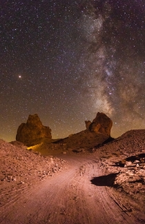Trona Pinnacles near Southern California under the starry sky