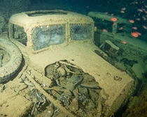 Truck in the hold of the SS Thistlegorm British merchant ship sunk in  in the Red Sea