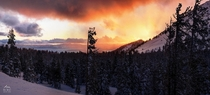 Truly epic winter sunset in Lake Tahoe